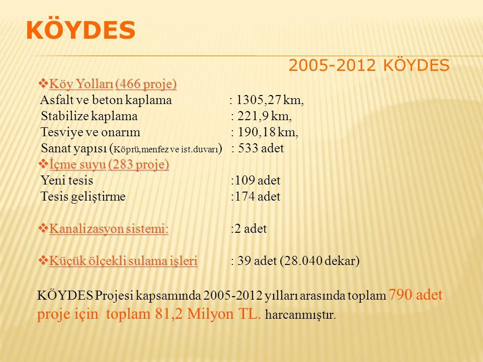  Köy Yolları(466 proje)  Köy Yolları (466 proje) Asfalt ve beton kaplama : 1305,27 km, Stabilize kaplama: 221,9 km, Tesviye ve onarım : 190,18 km, Sanat yapısı ( Köprü,menfez ve ist.duvarı ) : 533 adet  İçme suyu(283 proje)  İçme suyu (283 proje) Yeni tesis:109 adet Tesis geliştirme :174 adet  Kanalizasyon sistemi:  Kanalizasyon sistemi: :2 adet  Küçük ölçekli sulama işleri  Küçük ölçekli sulama işleri: 39 adet (28.040 dekar) KÖYDES Projesi kapsamında 2005-2012 yılları arasında toplam 790 adet proje için toplam 81,2 Milyon TL.
