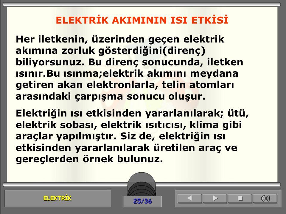 ELEKTRİK 25/36 ELEKTRİK AKIMININ ISI ETKİSİ Her iletkenin, üzerinden geçen elektrik akımına zorluk gösterdiğini(direnç) biliyorsunuz. Bu direnç sonucu