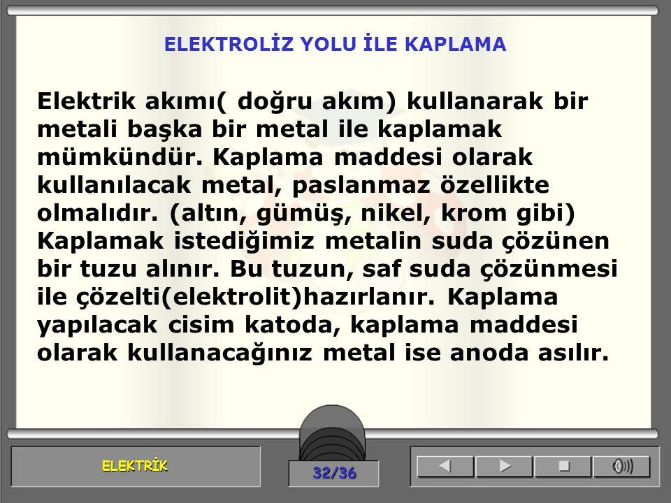 ELEKTRİK 32/36 ELEKTROLİZ YOLU İLE KAPLAMA Elektrik akımı( doğru akım) kullanarak bir metali başka bir metal ile kaplamak mümkündür. Kaplama maddesi o