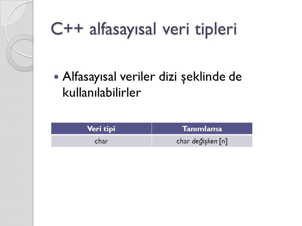 C++ alfasayısal veri tipleri Alfasayısal veriler dizi şeklinde de kullanılabilirler Veri tipiTanımlama charchar de ğ işken [n]