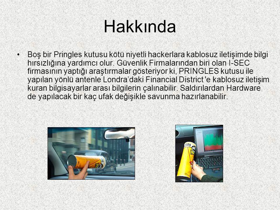 Hakkında Boş bir Pringles kutusu kötü niyetli hackerlara kablosuz iletişimde bilgi hırsızlığına yardımcı olur. Güvenlik Firmalarından biri olan I-SEC