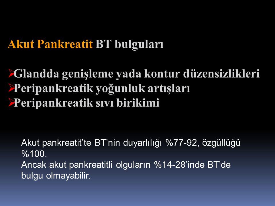 Akut Pankreatit BT bulguları  Glandda genişleme yada kontur düzensizlikleri  Peripankreatik yoğunluk artışları  Peripankreatik sıvı birikimi Akut p