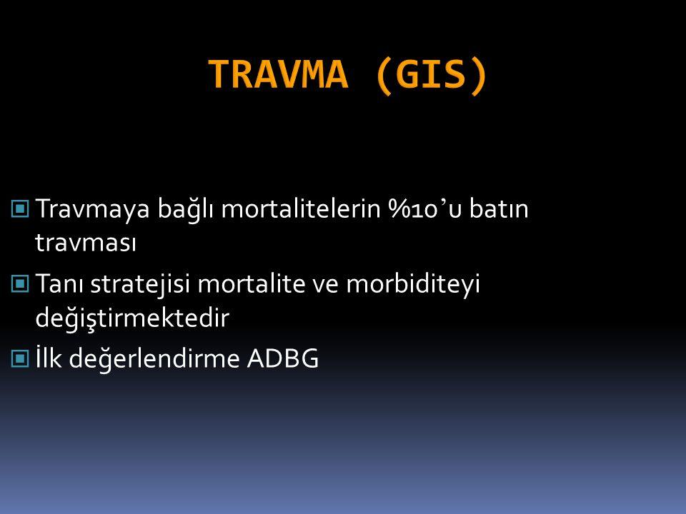 Travmaya bağlı mortalitelerin %10 ' u batın travması Tanı stratejisi mortalite ve morbiditeyi değiştirmektedir İlk değerlendirme ADBG