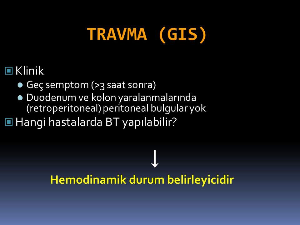 Klinik Geç semptom (>3 saat sonra) Duodenum ve kolon yaralanmalarında (retroperitoneal) peritoneal bulgular yok Hangi hastalarda BT yapılabilir? Hemod