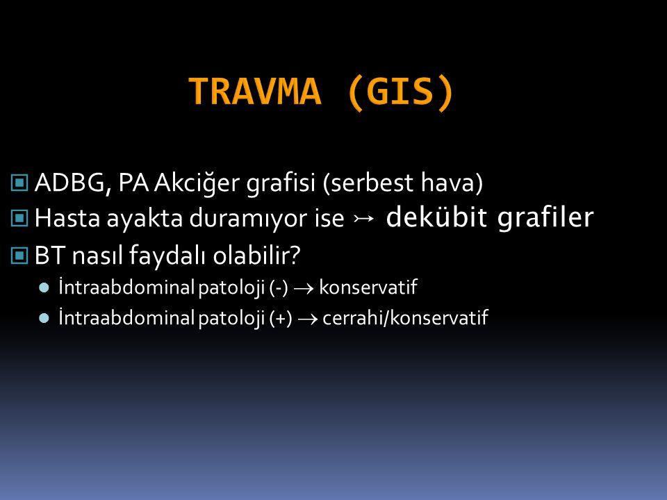 ADBG, PA Akciğer grafisi (serbest hava) Hasta ayakta duramıyor ise ↣ dekübit grafiler BT nasıl faydalı olabilir? İntraabdominal patoloji (-)  konserv