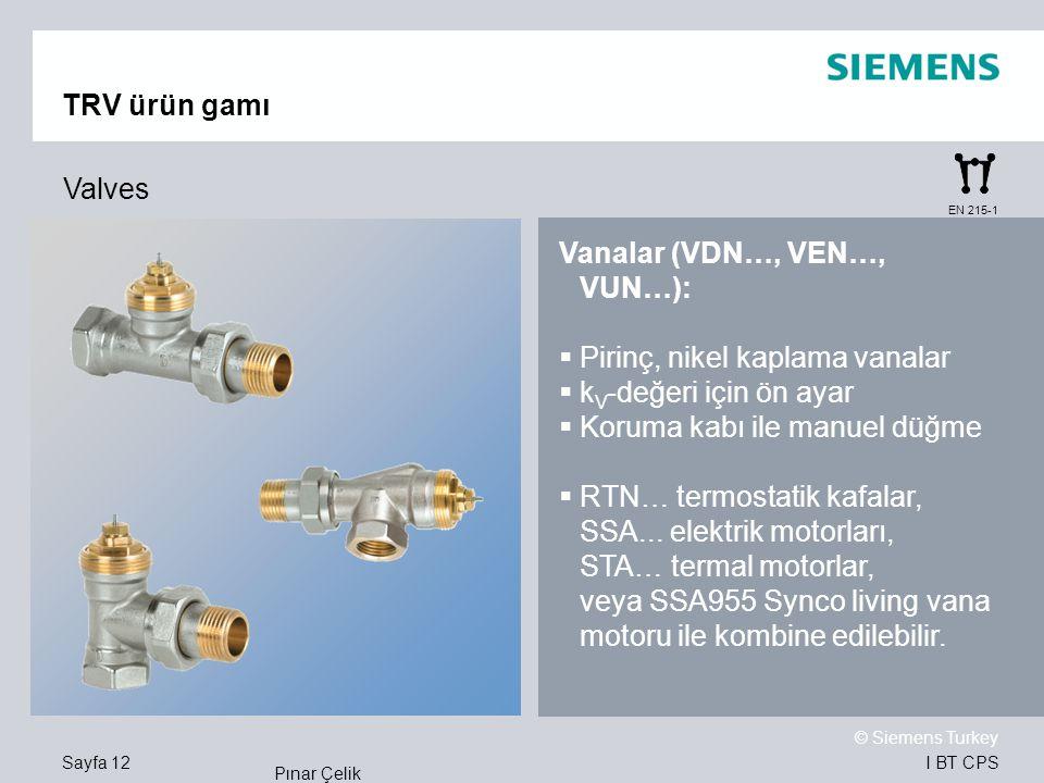 I BT CPS © Siemens Turkey Pınar Çelik Sayfa 12 TRV ürün gamı Valves Vanalar (VDN…, VEN…, VUN…):  Pirinç, nikel kaplama vanalar  k V -değeri için ön