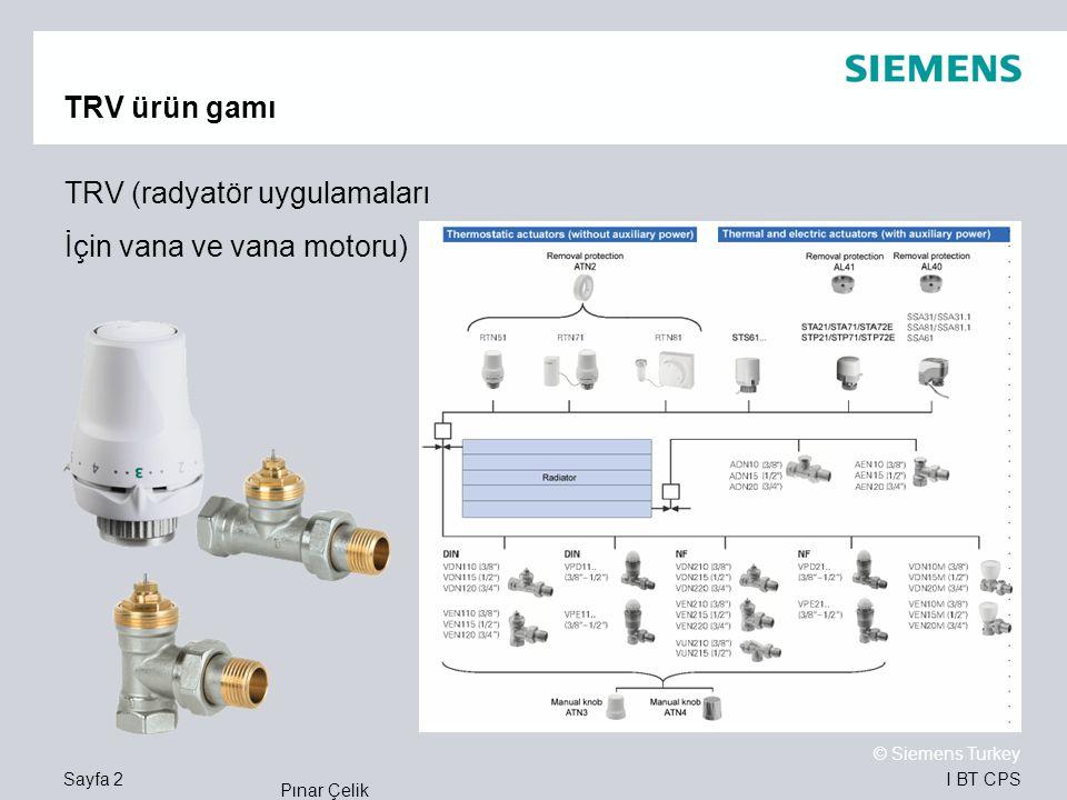 I BT CPS © Siemens Turkey Pınar Çelik Sayfa 2 TRV ürün gamı TRV (radyatör uygulamaları İçin vana ve vana motoru)