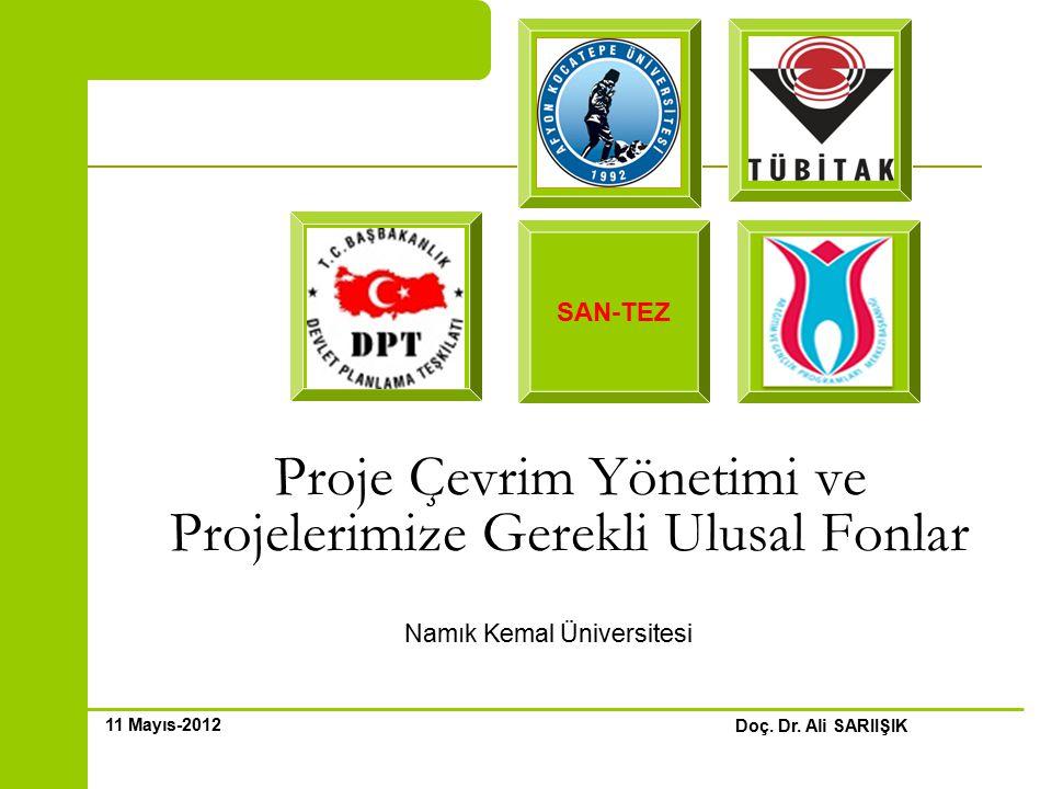 Proje Çevrim Yönetimi ve Projelerimize Gerekli Ulusal Fonlar Namık Kemal Üniversitesi Doç.