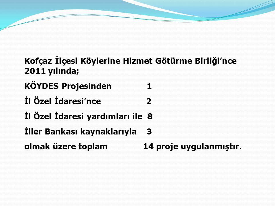 Kofçaz İlçesi Köylerine Hizmet Götürme Birliği'nce 2011 yılında; KÖYDES Projesinden 1 İl Özel İdaresi'nce 2 İl Özel İdaresi yardımları ile 8 İller Ban