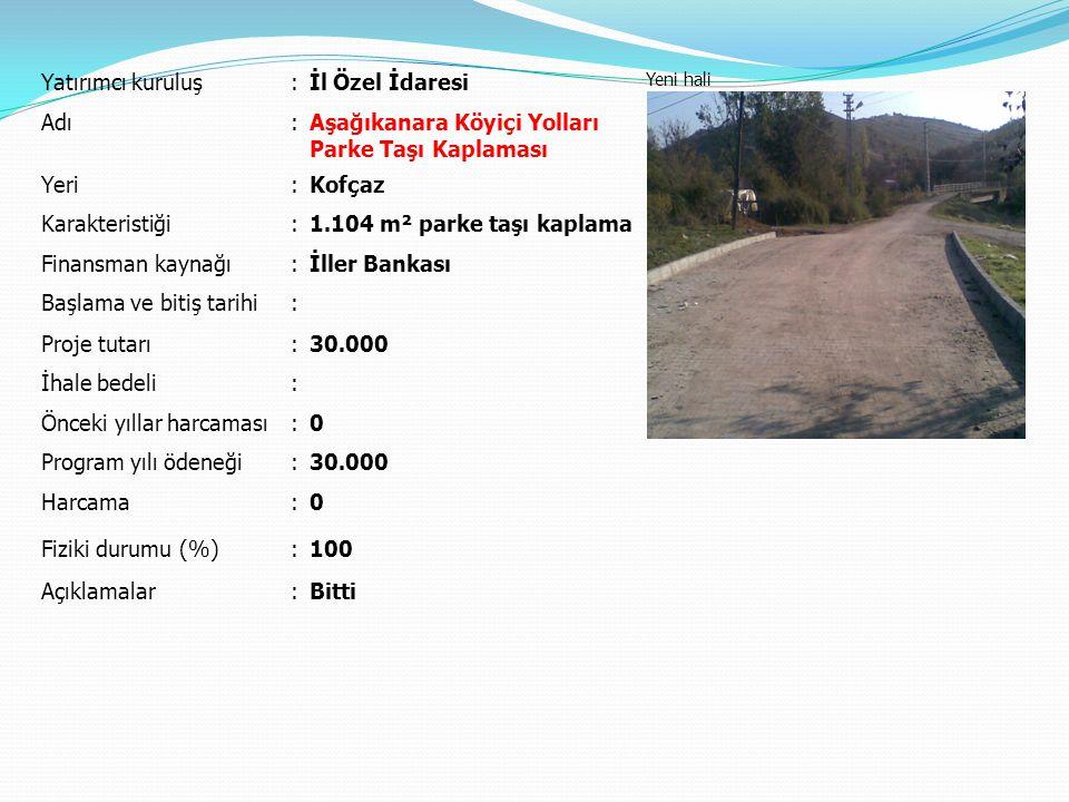Yatırımcı kuruluş:İl Özel İdaresi Yeni hali Adı:Aşağıkanara Köyiçi Yolları Parke Taşı Kaplaması Yeri:Kofçaz Karakteristiği:1.104 m² parke taşı kaplama