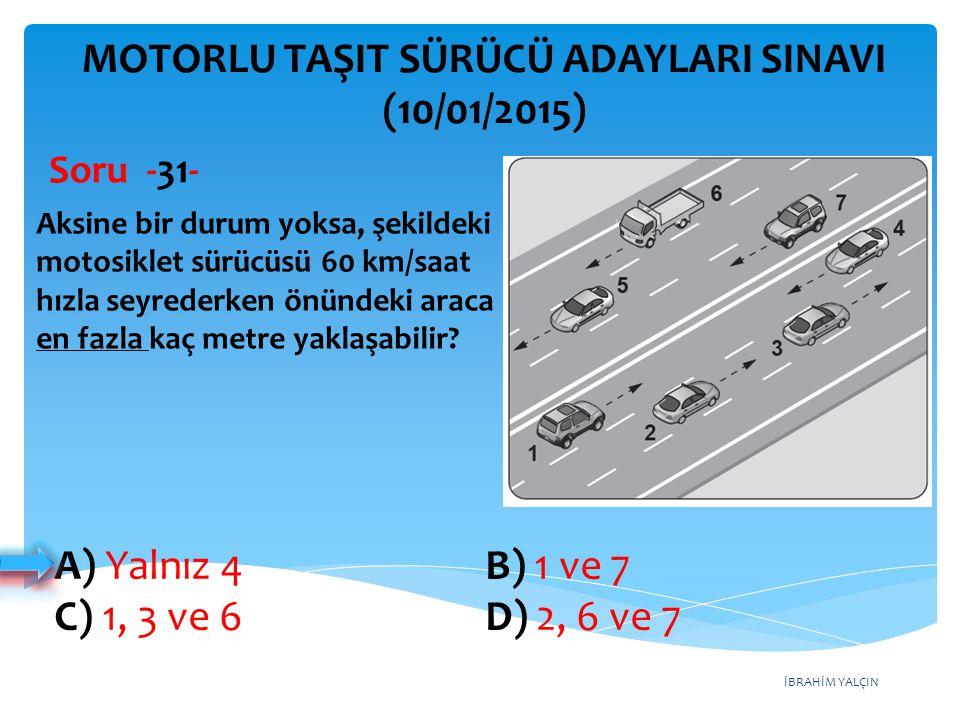 İBRAHİM YALÇIN A) Yalnız 4 B) 1 ve 7 C) 1, 3 ve 6 D) 2, 6 ve 7 MOTORLU TAŞIT SÜRÜCÜ ADAYLARI SINAVI (10/01/2015) Aksine bir durum yoksa, şekildeki mot