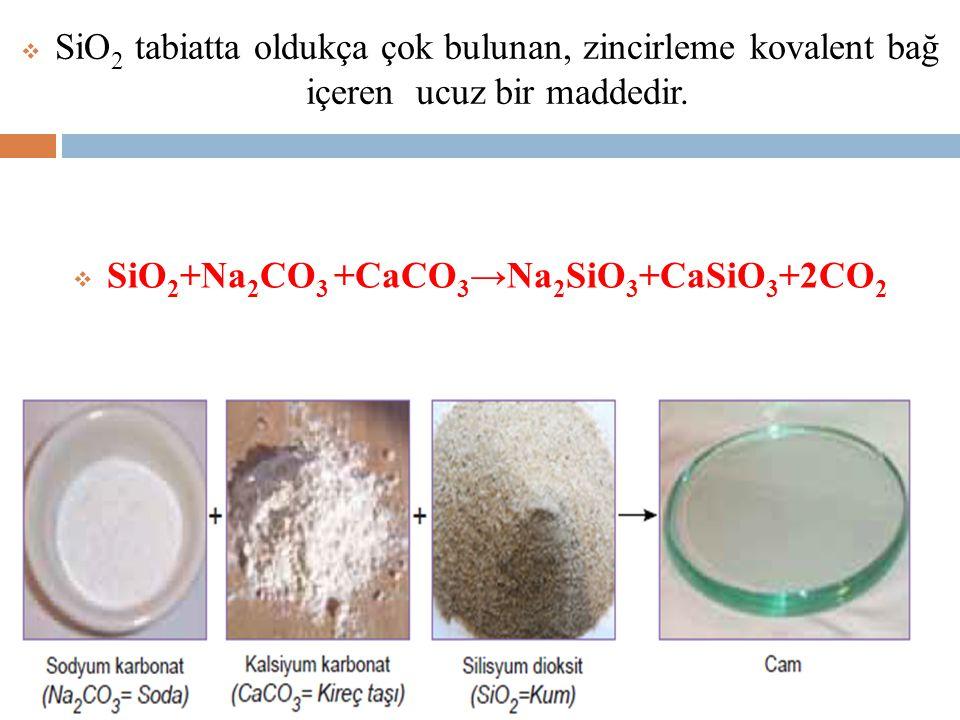  SiO 2 tabiatta oldukça çok bulunan, zincirleme kovalent bağ içeren ucuz bir maddedir.  SiO 2 +Na 2 CO 3 +CaCO 3 →Na 2 SiO 3 +CaSiO 3 +2CO 2