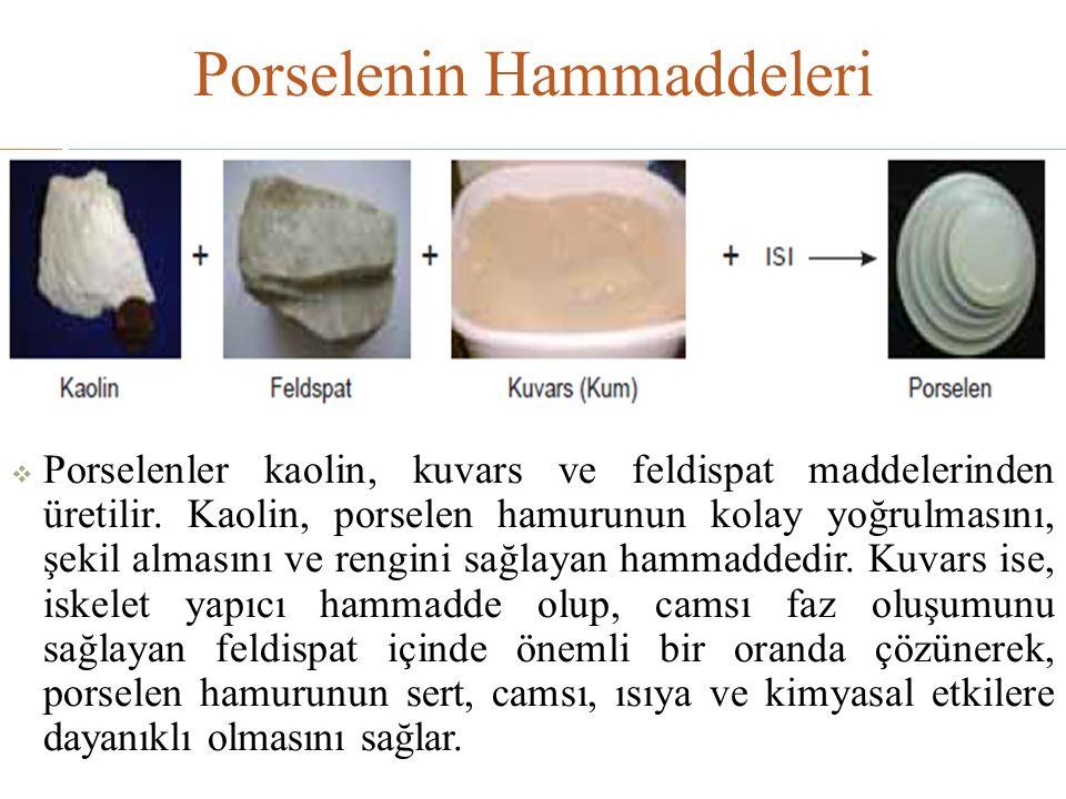 Porselenin Hammaddeleri  Porselenler kaolin, kuvars ve feldispat maddelerinden üretilir. Kaolin, porselen hamurunun kolay yoğrulmasını, şekil almasın