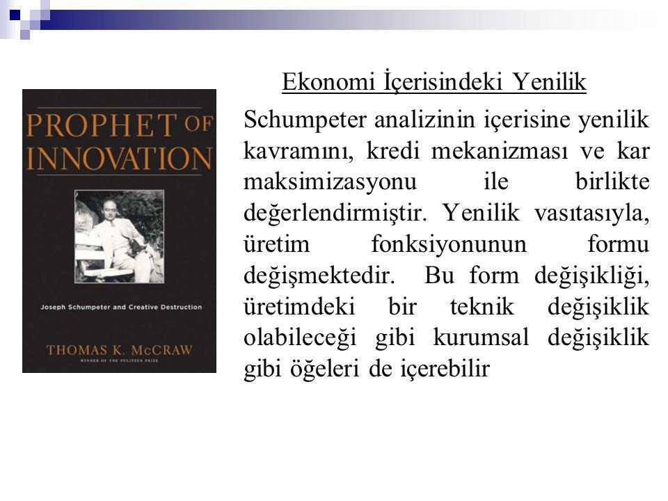 Ekonomi İçerisindeki Yenilik Schumpeter analizinin içerisine yenilik kavramını, kredi mekanizması ve kar maksimizasyonu ile birlikte değerlendirmiştir.