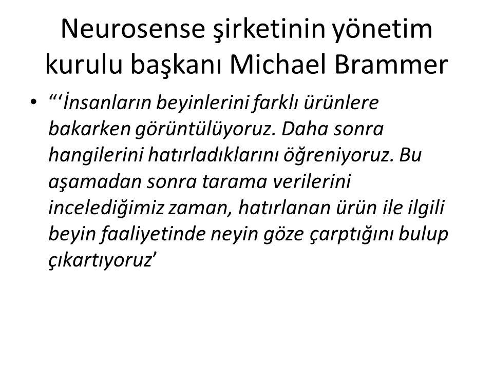 """Neurosense şirketinin yönetim kurulu başkanı Michael Brammer """"'İnsanların beyinlerini farklı ürünlere bakarken görüntülüyoruz. Daha sonra hangilerini"""