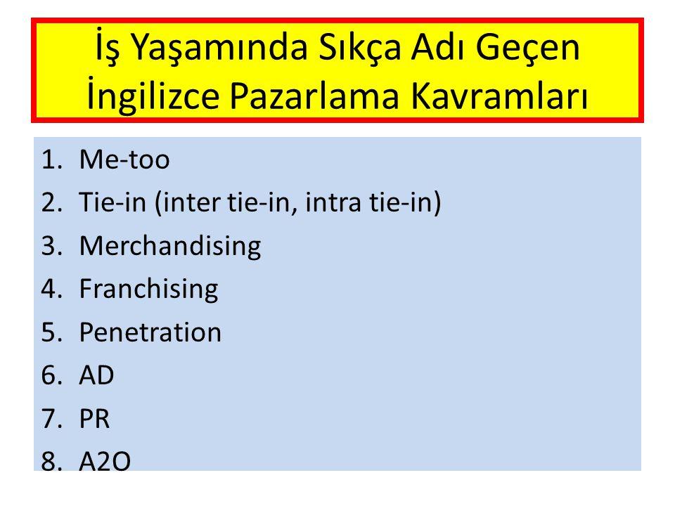 İş Yaşamında Sıkça Adı Geçen İngilizce Pazarlama Kavramları 1.Me-too 2.Tie-in (inter tie-in, intra tie-in) 3.Merchandising 4.Franchising 5.Penetration