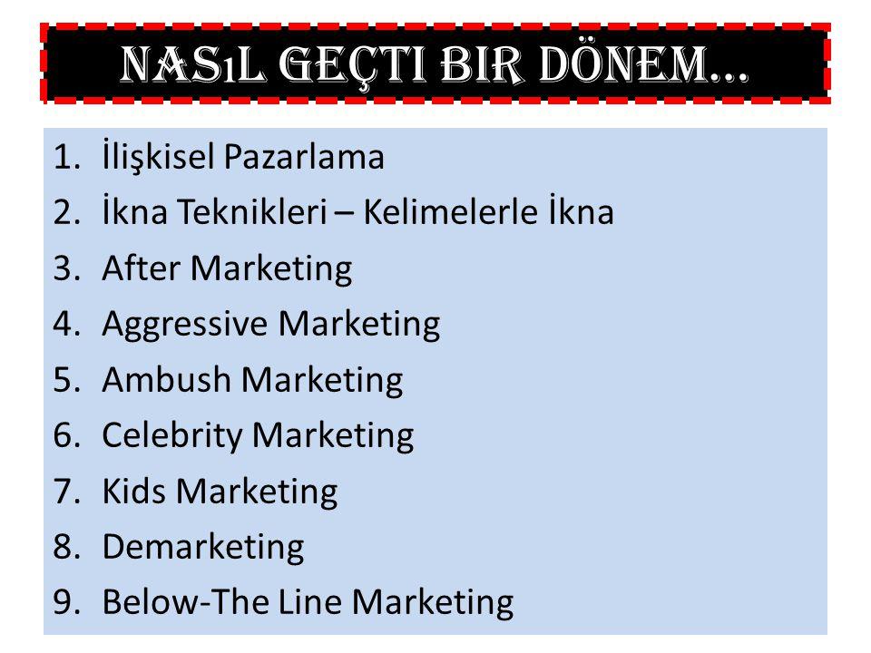 1.İlişkisel Pazarlama 2.İkna Teknikleri – Kelimelerle İkna 3.After Marketing 4.Aggressive Marketing 5.Ambush Marketing 6.Celebrity Marketing 7.Kids Ma