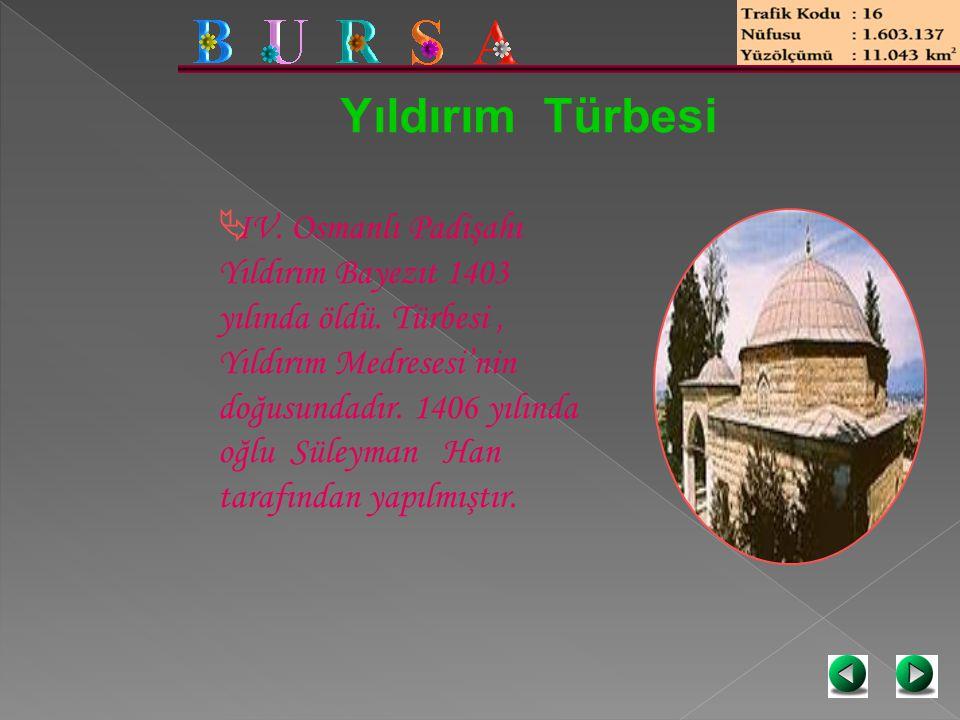 Yıldırım Türbesi  IV. Osmanlı Padişahı Yıldırım Bayezıt 1403 yılında öldü. Türbesi, Yıldırım Medresesi'nin doğusundadır. 1406 yılında oğlu Süleyman H