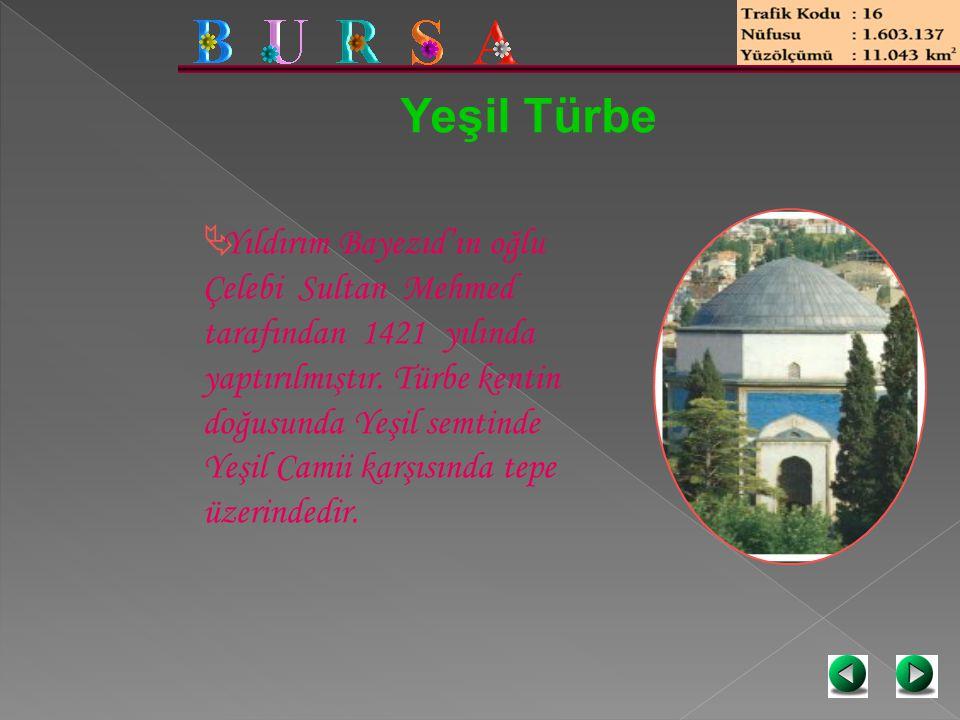 Yeşil Türbe  Yıldırım Bayezıd'ın oğlu Çelebi Sultan Mehmed tarafından 1421 yılında yaptırılmıştır. Türbe kentin doğusunda Yeşil semtinde Yeşil Camii