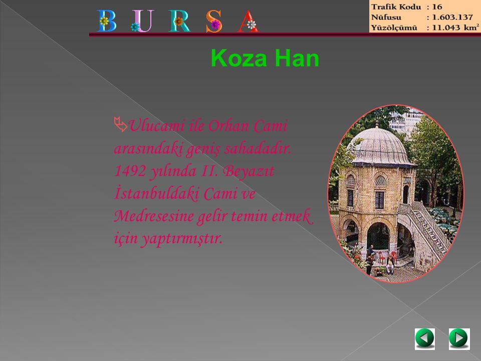 Koza Han  Ulucami ile Orhan Cami arasındaki geniş sahadadır. 1492 yılında II. Beyazıt İstanbuldaki Cami ve Medresesine gelir temin etmek için yaptırm