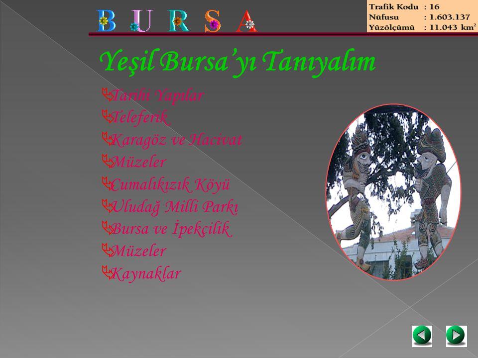 Yeşil Bursa'yı Tanıyalım  Tarihi Yapılar  Teleferik  Karagöz ve Hacivat  Müzeler  Cumalıkızık Köyü  Uludağ Milli Parkı  Bursa ve İpekçilik  Mü