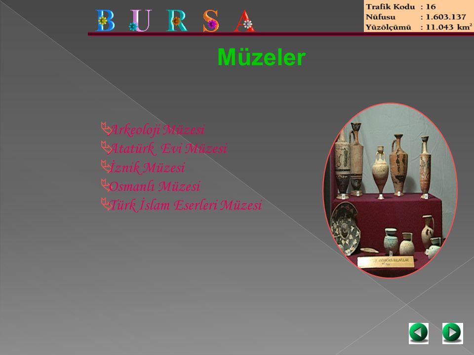 Müzeler  Arkeoloji Müzesi  Atatürk Evi Müzesi  İznik Müzesi  Osmanlı Müzesi  Türk İslam Eserleri Müzesi