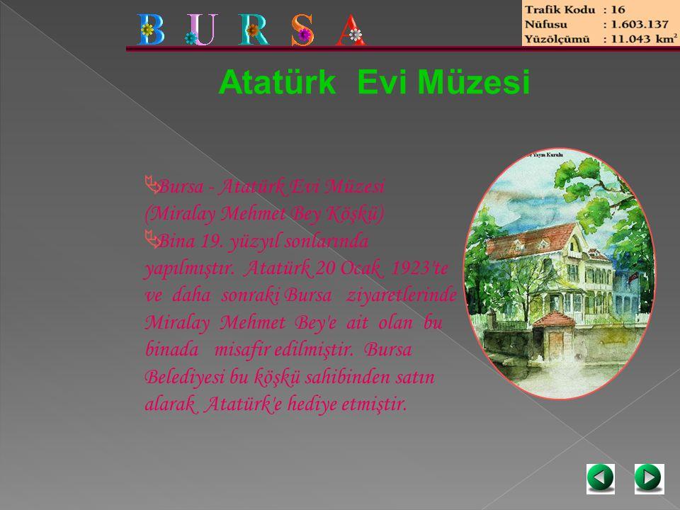 Atatürk Evi Müzesi  Bursa - Atatürk Evi Müzesi (Miralay Mehmet Bey Köşkü)  Bina 19. yüzyıl sonlarında yapılmıştır. Atatürk 20 Ocak 1923'te ve daha s