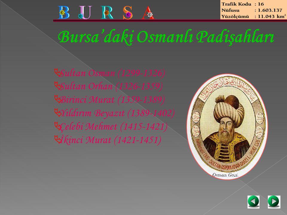Bursa'daki Osmanlı Padişahları  Sultan Osman (1299-1326)  Sultan Orhan (1326-1359)  Birinci Murat (1359-1389)  Yıldırım Beyazıt (1389-1402)  Çele