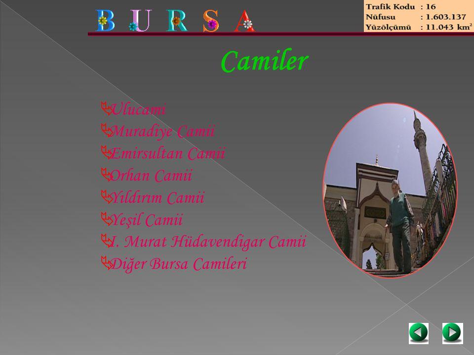 Camiler  Ulucami  Muradiye Camii  Emirsultan Camii  Orhan Camii  Yıldırım Camii  Yeşil Camii  I. Murat Hüdavendigar Camii  Diğer Bursa Camiler