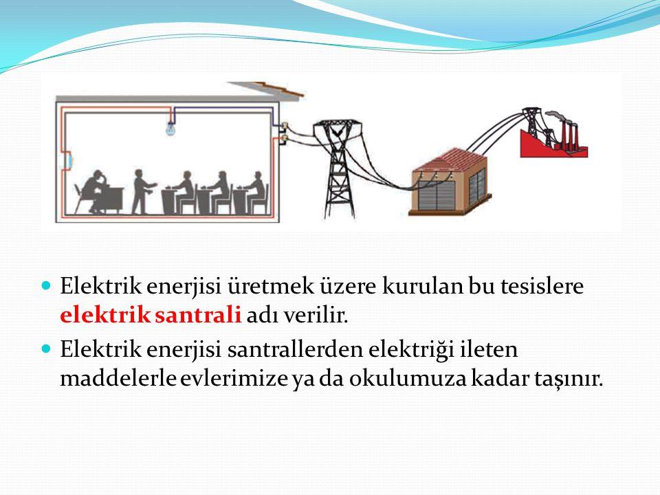 Elektrik enerjisi üretmek üzere kurulan bu tesislere elektrik santrali adı verilir. Elektrik enerjisi santrallerden elektriği ileten maddelerle evleri