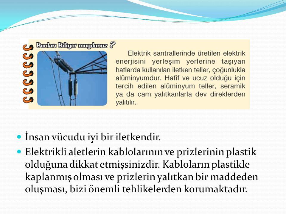 İnsan vücudu iyi bir iletkendir. Elektrikli aletlerin kablolarının ve prizlerinin plastik olduğuna dikkat etmişsinizdir. Kabloların plastikle kaplanmı