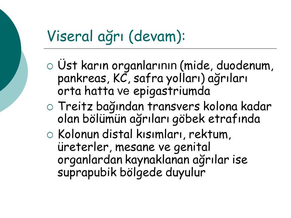 Kronik karın ağrıları: Sağ üst kadran ağrısı:  Safra kesesine bağlı ağrılar  KC absesi  KC Ca  Konjestif hepatomegali
