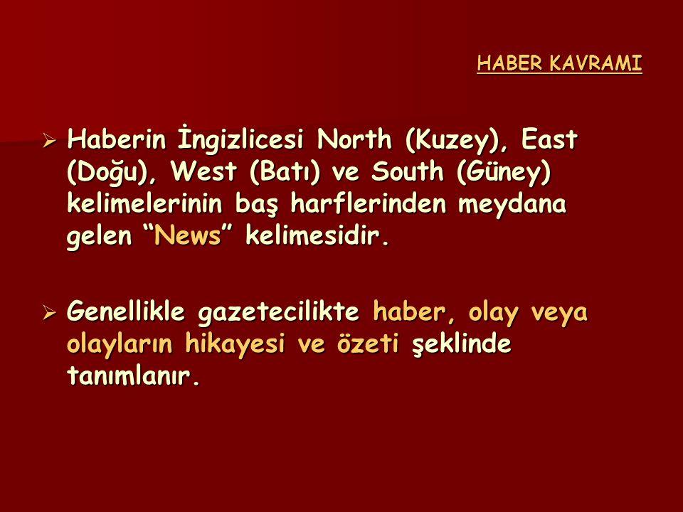 """ Haberin İngizlicesi North (Kuzey), East (Doğu), West (Batı) ve South (Güney) kelimelerinin baş harflerinden meydana gelen """"News"""" kelimesidir.  Gene"""