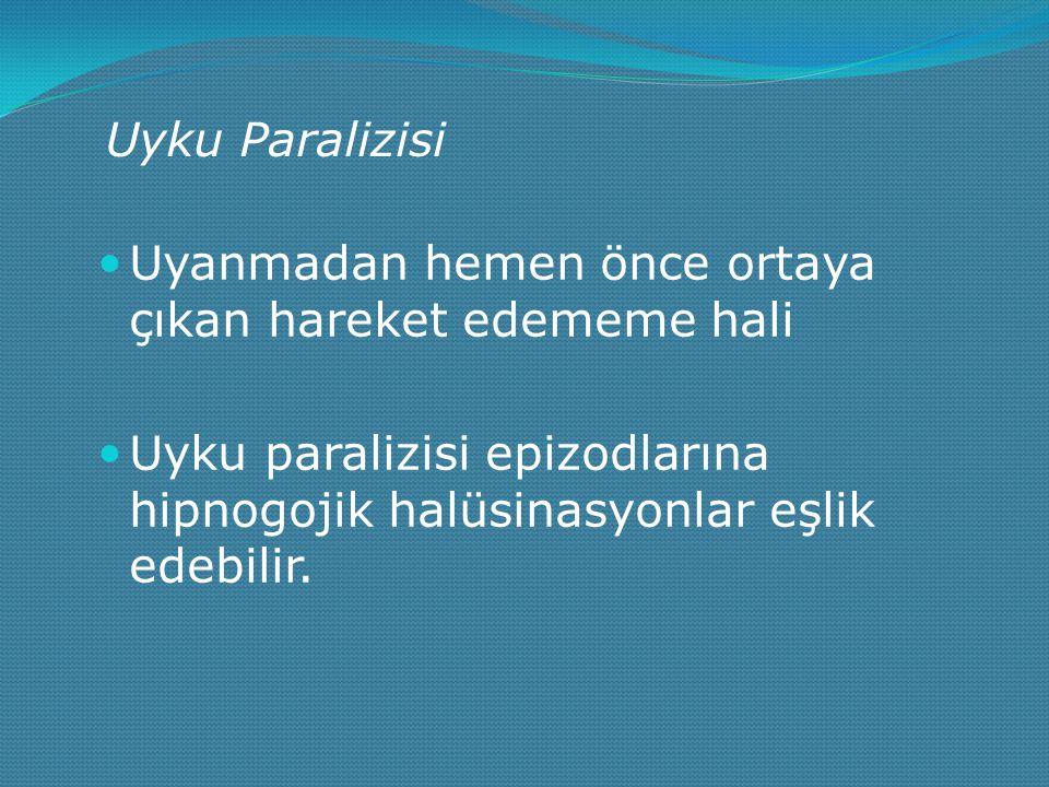 Uyku Paralizisi Uyanmadan hemen önce ortaya çıkan hareket edememe hali Uyku paralizisi epizodlarına hipnogojik halüsinasyonlar eşlik edebilir.