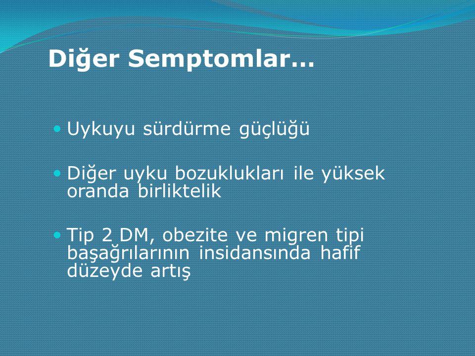 Diğer Semptomlar… Uykuyu sürdürme güçlüğü Diğer uyku bozuklukları ile yüksek oranda birliktelik Tip 2 DM, obezite ve migren tipi başağrılarının insida