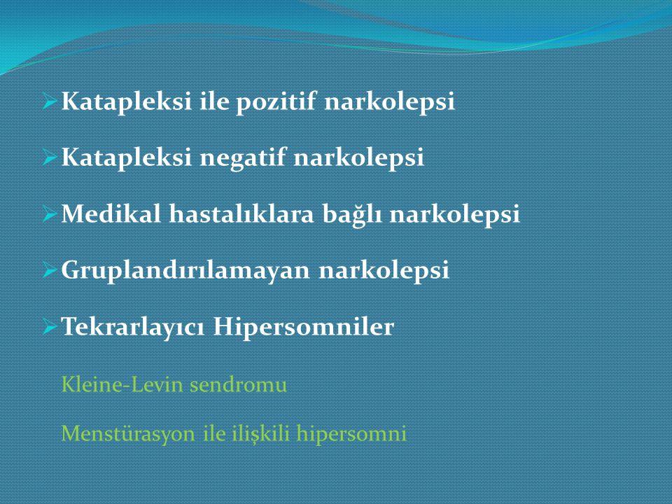  Uzun uyku süresi ile birlikte idiopatik hipersomni  Uzun uyku süresi olmayan idiopatik hipersomni  Davranışsal olarak ortaya çıkan yetersiz uyku sendromu  Medikal hastalıklara bağlı hipersomni  İlaç ya da madde kullanımına bağlı hipersomni  Organik kaynaklı olmayan sınıflandırılamayan hipersomniler  Organik, sınıflandırılamayan hipersomniler