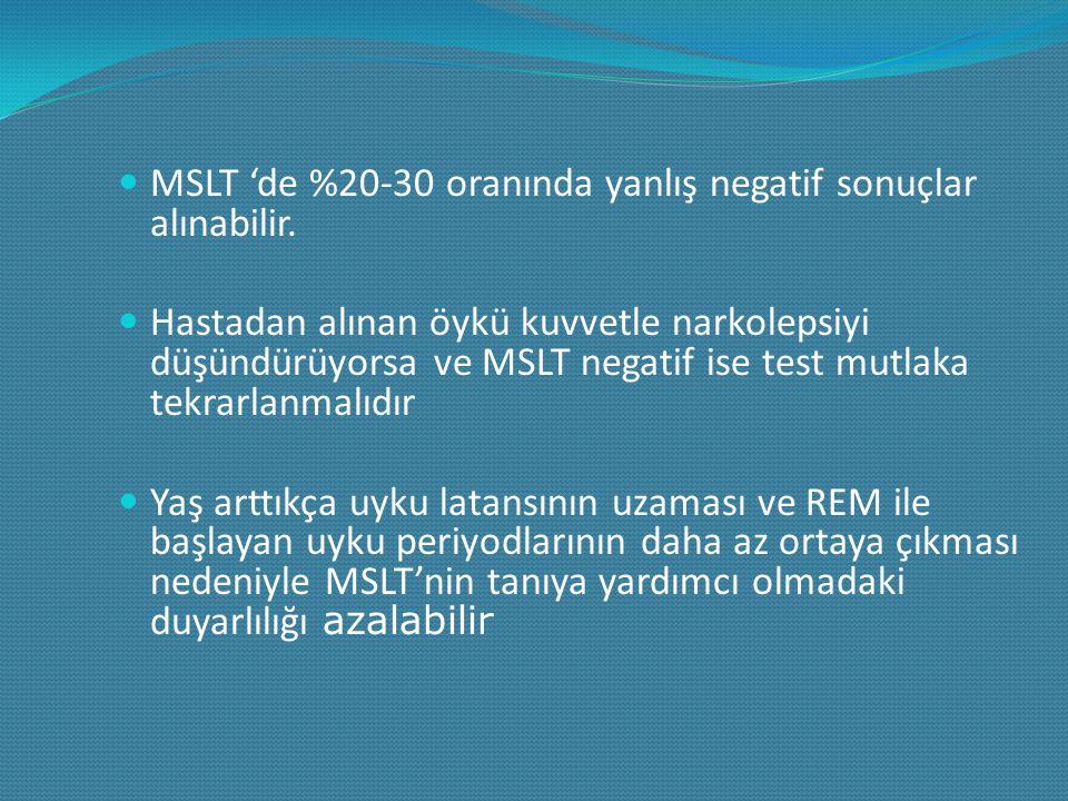 MSLT 'de %20-30 oranında yanlış negatif sonuçlar alınabilir. Hastadan alınan öykü kuvvetle narkolepsiyi düşündürüyorsa ve MSLT negatif ise test mutlak