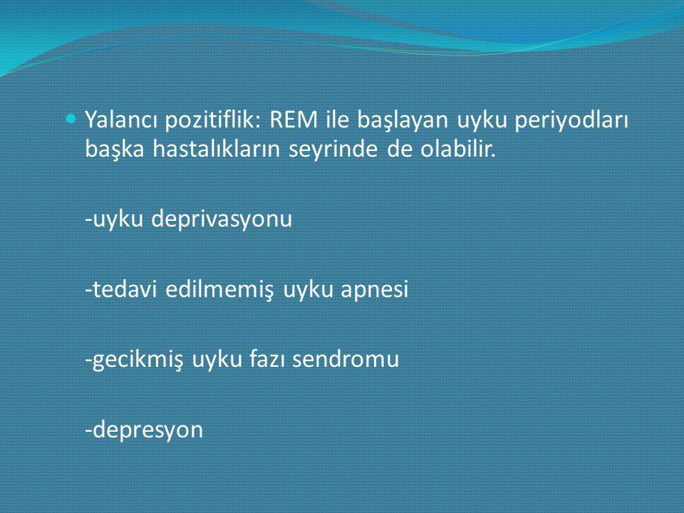 Yalancı pozitiflik: REM ile başlayan uyku periyodları başka hastalıkların seyrinde de olabilir. -uyku deprivasyonu -tedavi edilmemiş uyku apnesi -geci