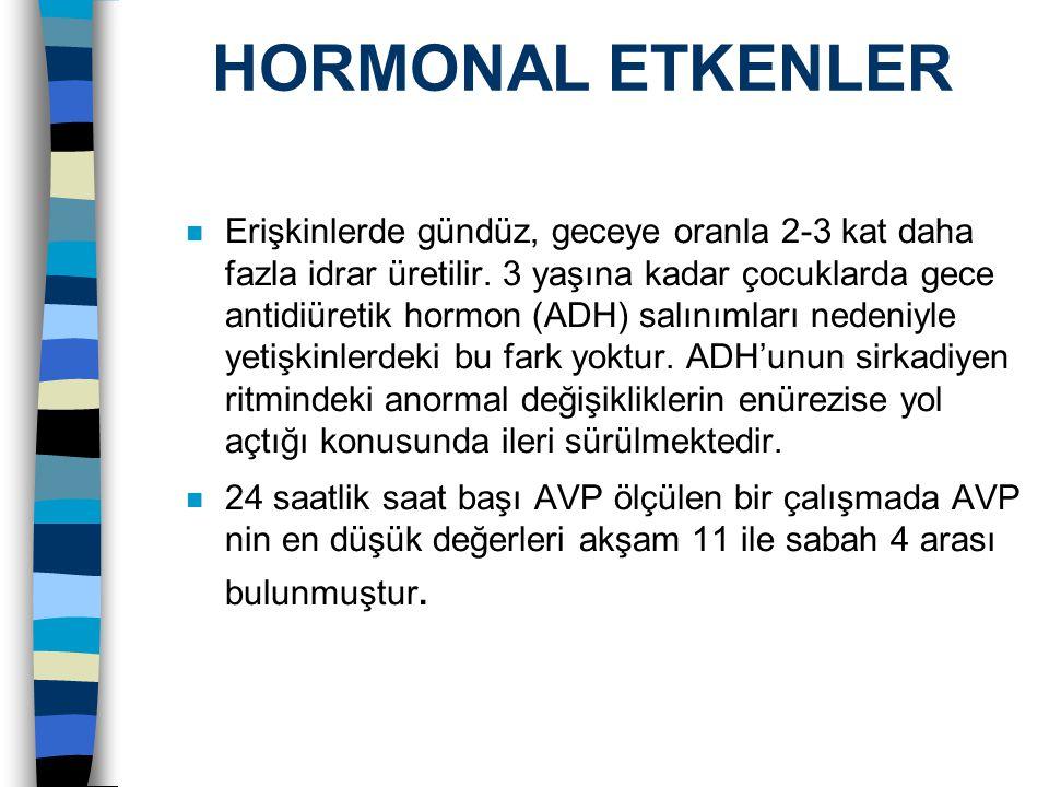 HORMONAL ETKENLER n Erişkinlerde gündüz, geceye oranla 2-3 kat daha fazla idrar üretilir. 3 yaşına kadar çocuklarda gece antidiüretik hormon (ADH) sal