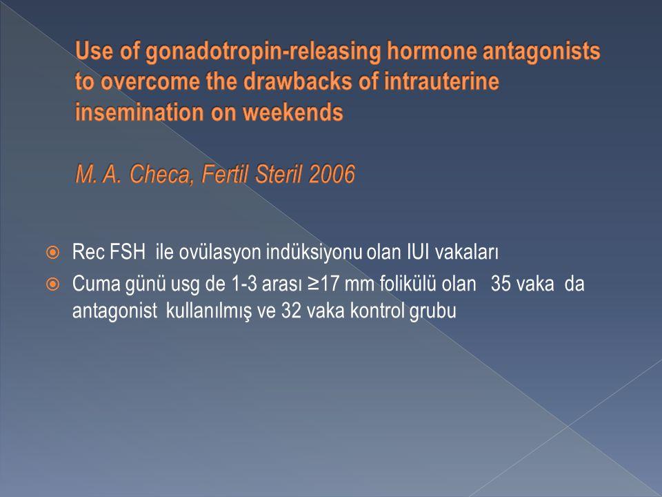  Rec FSH ile ovülasyon indüksiyonu olan IUI vakaları  Cuma günü usg de 1-3 arası ≥17 mm folikülü olan 35 vaka da antagonist kullanılmış ve 32 vaka kontrol grubu