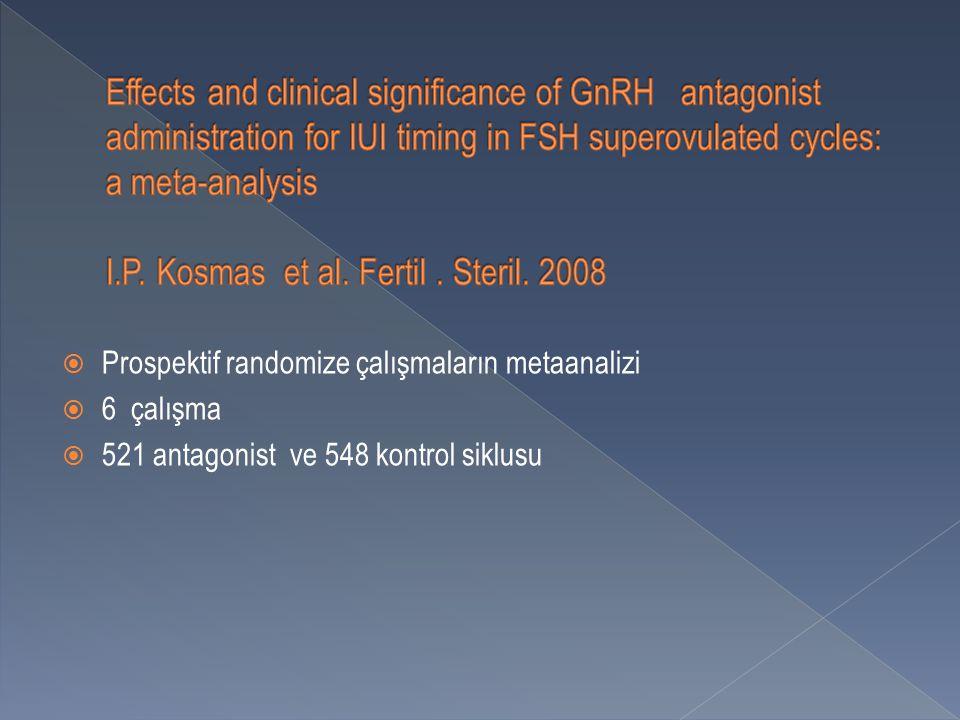  Prospektif randomize çalışmaların metaanalizi  6 çalışma  521 antagonist ve 548 kontrol siklusu