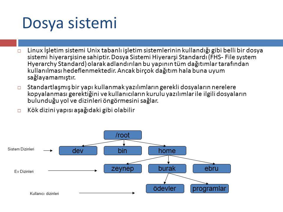 Dizin Oluşturmak  Dizin Oluşturmak için mkdir komutu kullanılabilir mkdir ile kullanılabilecek bazı parametreler şunlardır: -m izinler  Oluşturulacak dizin için geçerli olacak izinleri belirler -p  Açılacak dizinin üstü dizinleri yoksa bu dizinlerin de oluşturulmasını sağlar -v  Açtığı dizinleri kullanıcıya bildirilir.