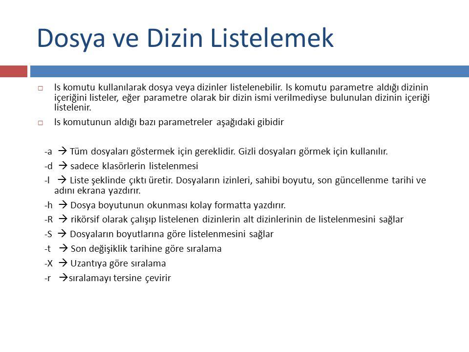 Dosya ve Dizin Listelemek  ls komutu kullanılarak dosya veya dizinler listelenebilir. ls komutu parametre aldığı dizinin içeriğini listeler, eğer par