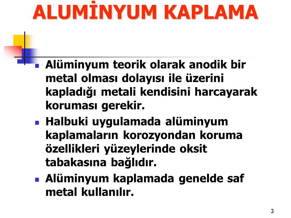 3 Alüminyum teorik olarak anodik bir metal olması dolayısı ile üzerini kapladığı metali kendisini harcayarak koruması gerekir. Halbuki uygulamada alüm