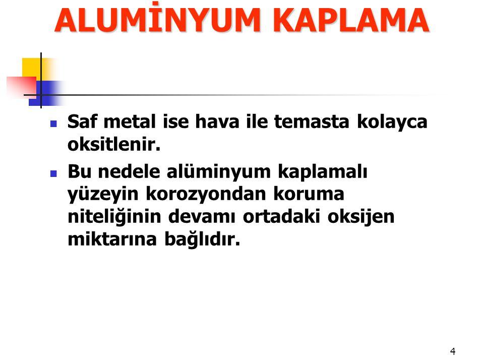 4 Saf metal ise hava ile temasta kolayca oksitlenir. Bu nedele alüminyum kaplamalı yüzeyin korozyondan koruma niteliğinin devamı ortadaki oksijen mikt