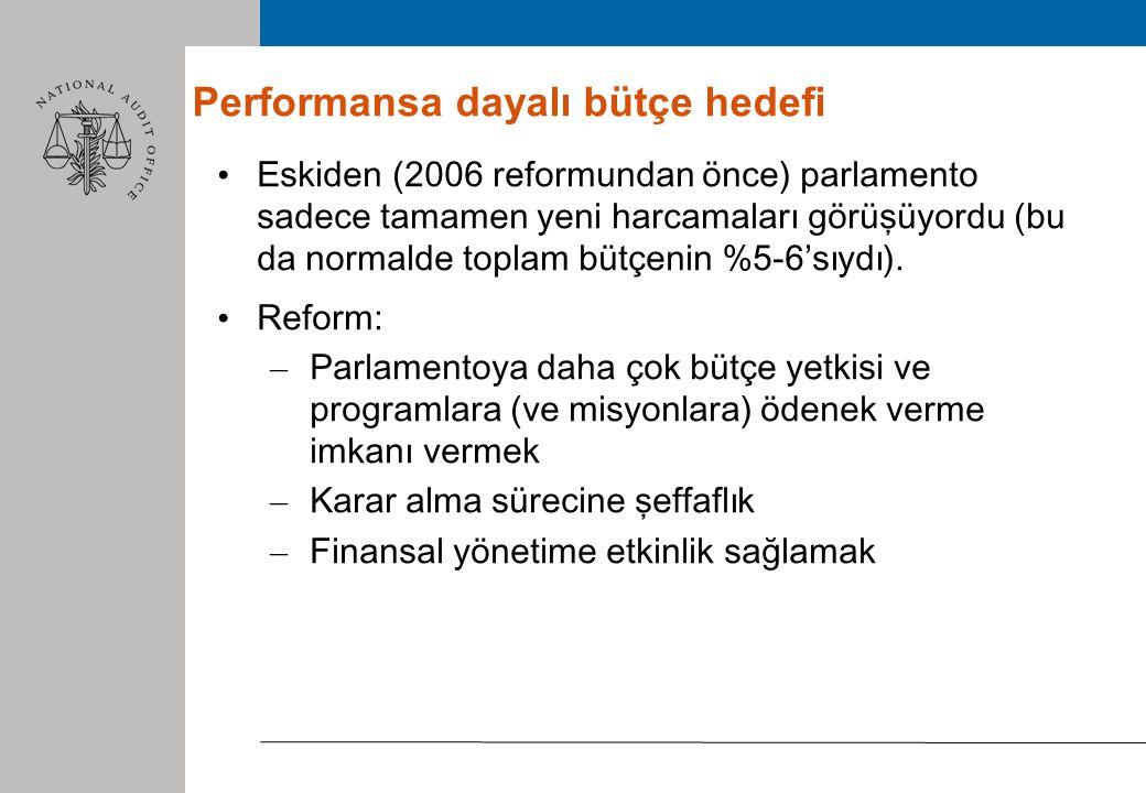 4 Performansa dayalı bütçe Yapı Misyonlar (30 kadar): temel hükümet politikaları (bir veya birden fazla bakanlığın altında) Programlar (100'den fazla): bir bakanlıkta tek program - Stratejik plan, performans hedefleri ve göstergeler (sosyo- ekonomik etkililik, hizmet kalitesi ve yönetim verimliliği) Eylemler (500'den fazla): harcamaların detaylandırılması Program yöneticisi: strateji, amaçların ve göstergelerin hazırlanmasında bakana yardımcı olur.