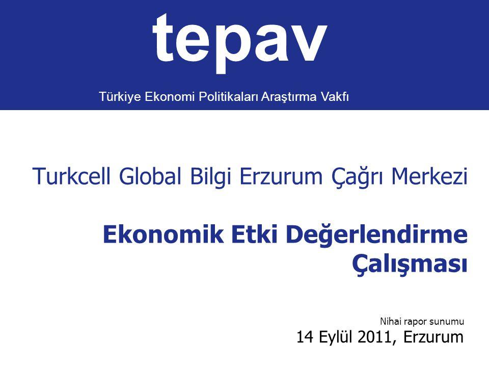 Turkcell Global Bilgi Erzurum Çağrı Merkezi Ekonomik Etki Değerlendirme Çalışması tepav Türkiye Ekonomi Politikaları Araştırma Vakfı Nihai rapor sunum