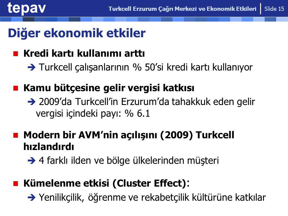 Diğer ekonomik etkiler Kredi kartı kullanımı arttı  Turkcell çalışanlarının % 50'si kredi kartı kullanıyor Kamu bütçesine gelir vergisi katkısı  200