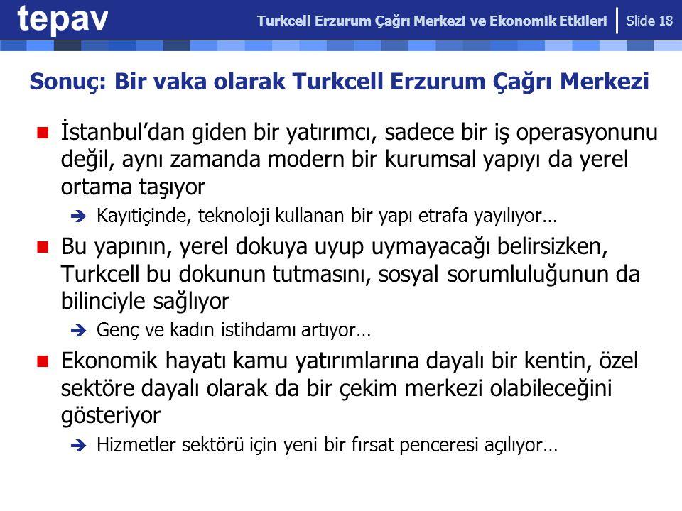 Sonuç: Bir vaka olarak Turkcell Erzurum Çağrı Merkezi İstanbul'dan giden bir yatırımcı, sadece bir iş operasyonunu değil, aynı zamanda modern bir kuru