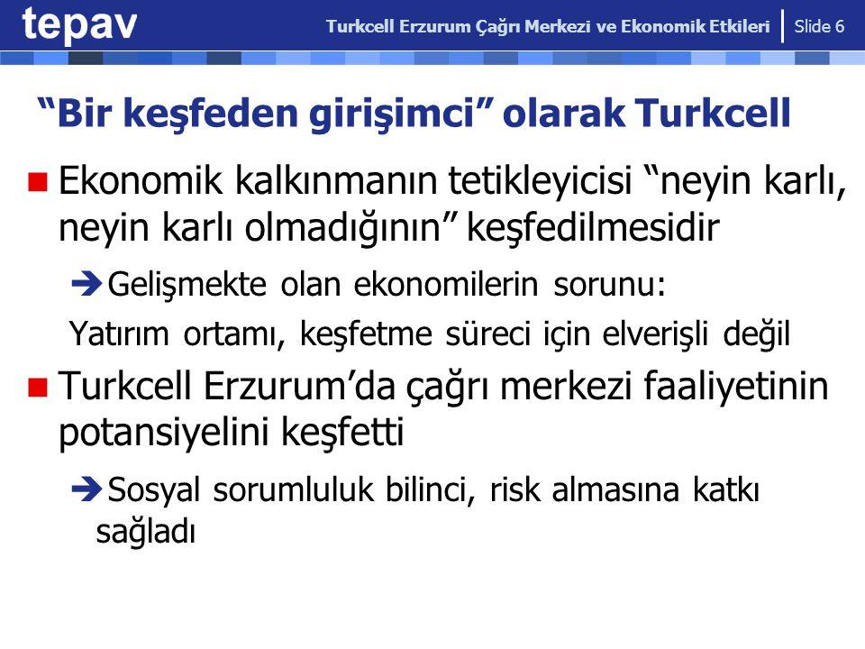 Turkcell'in Erzurum'un dönüşümünde sosyo- ekonomik etki kanalları Turkcell Erzurum Çağrı Merkezi ve Ekonomik Etkileri Slide 7 Turkcell Erzurum Çağrı Merkezi İstihdam etkisi Gelir ve Harcama Etkisi Şehir Hayatına Etkisi Kültürel Etki İnsan Kaynağı Gelişimine Etkisi Kümelenme etkisi (sektör gelişimi)